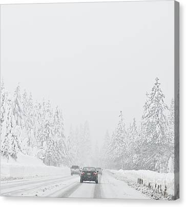 Snow-covered Rural Highway Canvas Print by Dave & Les Jacobs