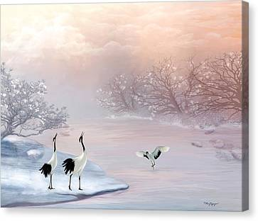 Snow Cranes Canvas Print by Thanh Thuy Nguyen