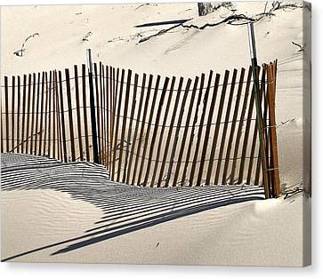 Snow Fence Shadows Canvas Print by Richard Gregurich