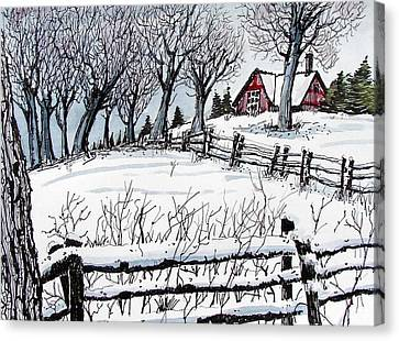 Canvas Print featuring the painting Snow Field by Terry Banderas