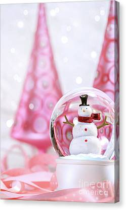 Snow Globe With Pink  Trees Canvas Print by Sandra Cunningham