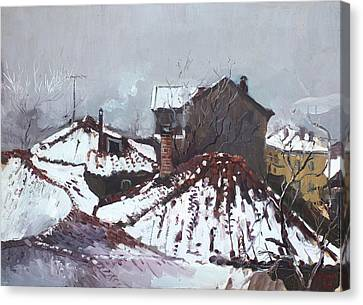 Snow In Elbasan Canvas Print by Ylli Haruni