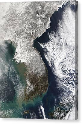 Snow In Korea Canvas Print by Stocktrek Images