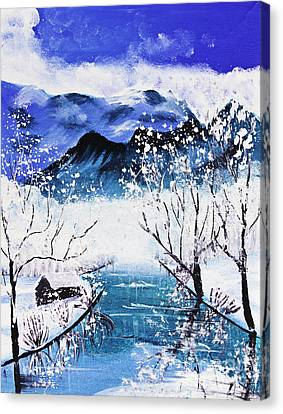Snow Mountain And River Poster Color Canvas Print by Mongkol Chakritthakool