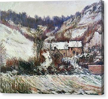 Snow Near Falaise Canvas Print by Claude Monet