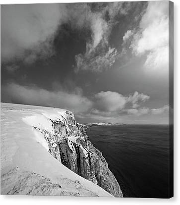 Snow On Highdown, Freshwater, Isle Of Wight Canvas Print by s0ulsurfing - Jason Swain