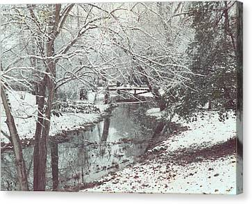Canvas Print featuring the photograph Snow On The Bayou by Louis Nugent