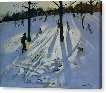 Snow Rykneld Park Derby Canvas Print by Andrew Macara
