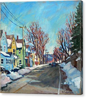 Daily Painter Canvas Print - Snow Shine Berkshires by Thor Wickstrom
