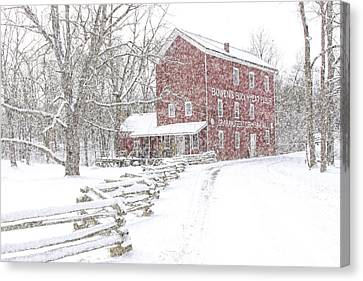 Snow Storm At Bowen's Mill Canvas Print by Randall Nyhof