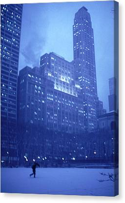 Canvas Print featuring the photograph Snow Storm Bryant Park New York City by Tom Wurl
