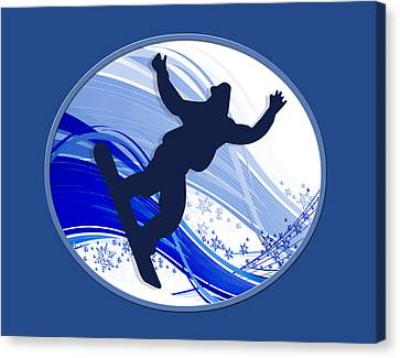 Snowboarding And Snowflakes Canvas Print by Elaine Plesser