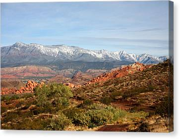 Snowcapped Foothills Canvas Print by Marta Alfred