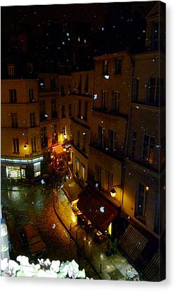 Snowfall In Paris Latin Quarter Canvas Print by Amelia Racca