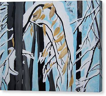 Canvas Print featuring the painting Snowfall by Krista Ouellette