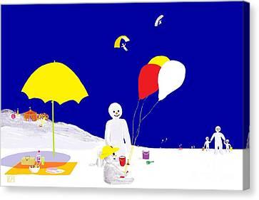 Snowman Family Holiday Canvas Print by Barbara Moignard