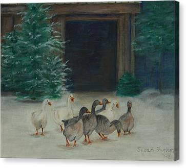 Snowy Geese Canvas Print by Susan Fuglem