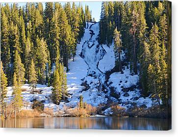 Canvas Print featuring the photograph Snowy Heart Falls by Lynn Bauer