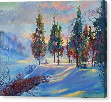 Snowy Lake Dawn Canvas Print by David Lloyd Glover