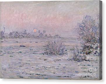 Snowy Landscape At Twilight Canvas Print by Claude Monet