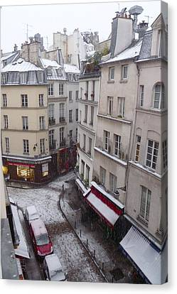 Snowy Morning Paris Latin Quarter Canvas Print by Amelia Racca