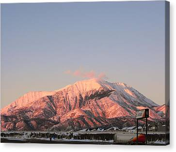 Snowy Mountain At Sunset Canvas Print