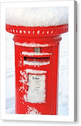 Snowy Pillar Box Canvas Print by Mal Bray