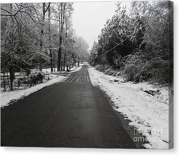 Snowy Street After A Winter Storm Canvas Print by Cindy Hudson