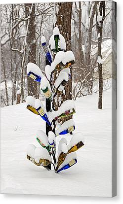 Snowy Wine Bottle Sculpture Canvas Print by Aimee L Maher Photography and Art Visit ALMGallerydotcom