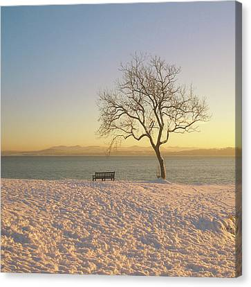 Snowy Winter Sunset Over The River Forth Canvas Print