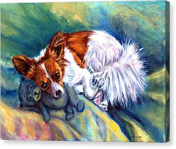 Snuggles - Papillon Dog Canvas Print by Lyn Cook