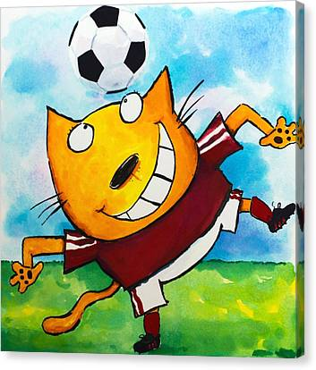 Soccer Cat 4 Canvas Print by Scott Nelson