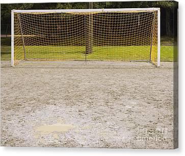 Schoolyard Canvas Print - Soccer Net On Dirt Field by Andersen Ross