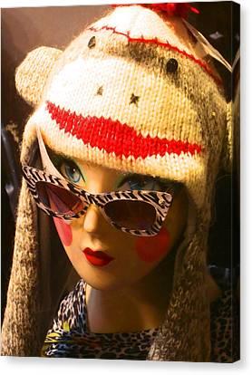 Sock Monkey Zebra Glasses Canvas Print by Kym Backland