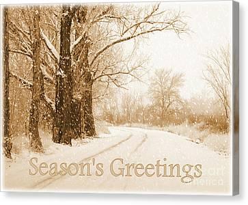 Soft Sepia Season's Greetings Card Canvas Print by Carol Groenen