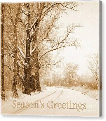 Soft Sepia Season's Greetings Canvas Print by Carol Groenen