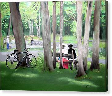 Solace In The Park Canvas Print by Barbara Gulotta