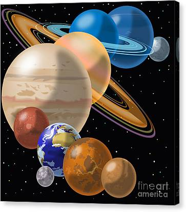 Astronomical Canvas Print - Solar System by Mark Giles and Photo Researchers