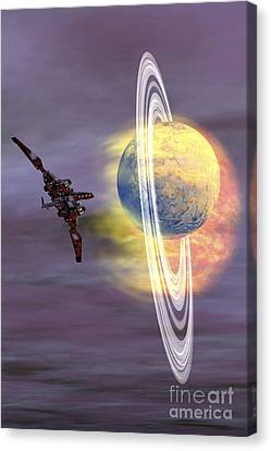 Jet Star Canvas Print - Solar Winds Hit A Ringed Planet by Corey Ford