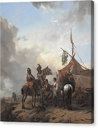 Soldiers Carousing With A Serving Woman Outside A Tent Canvas Print