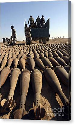 Iraq Canvas Print - Soldiers Load 120 Millimeter White by Stocktrek Images