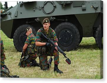 Soldiers Of An Infantry Unit Canvas Print by Luc De Jaeger