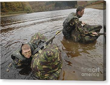 Soldiers Participate In A River Canvas Print by Andrew Chittock