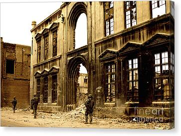 Soldiers Patrolling Past The Facade Canvas Print by Stocktrek Images