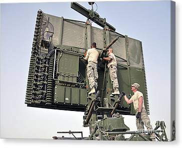 Soldiers Set Up A Tps-75 Radar Canvas Print by Stocktrek Images