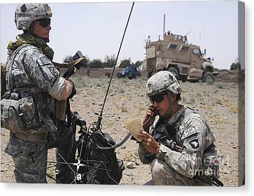 Soldiers Setting Up A Satellite Canvas Print by Stocktrek Images