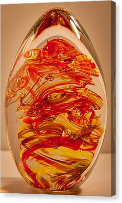 Solid Glass Sculpture Ef Fire Canvas Print by David Patterson