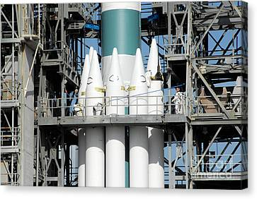 Solid Rocket Boosters Are Attached Canvas Print by Stocktrek Images