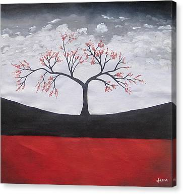 Solitary Tree-oil Painting Canvas Print by Rejeena Niaz
