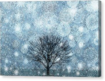 Solitary Winter Tree Caught In A Snow Storm Canvas Print by Andrew Bret Wallis